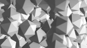 Explosion of platonic pentagons in gray color background, 4k video