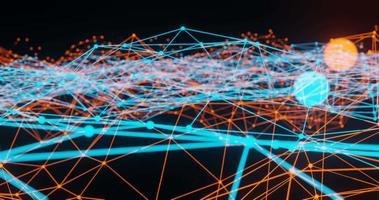 animation de plexus bleu clair et orange