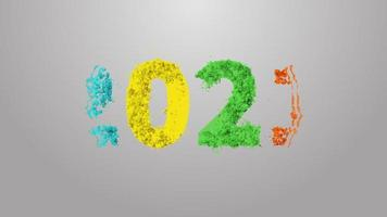 "animação colorida ""2021"" com partículas video"