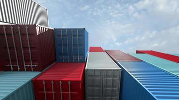 Containers from cargo freight ship for import and export concept video