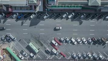 Aerial view parking zone off super highway