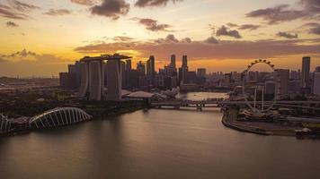 Singapore City Skyline During Sunset