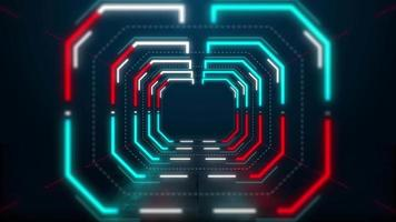 Moving forward inside abstract neon light hexagon tunnel 4k