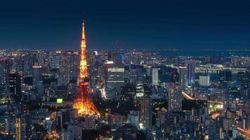 vista en la ciudad de tokio con la torre de tokio