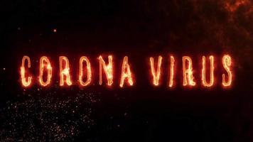 animação de texto de coronavírus com efeito de fogo