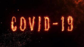 animação de texto covid-19 com efeito de fogo