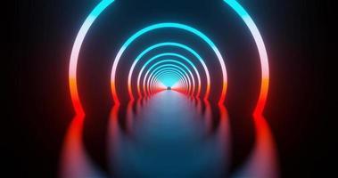 tre anelli al neon rossi e blu loop animazione