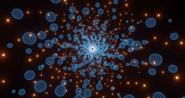 Esferas de alambre y animación de bucle de esferas brillantes naranjas