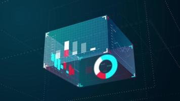Cubo gráfico 3D moderno azul de informações de negócios, 4k video