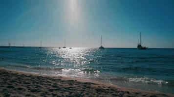 Blue Sky Boats in the Sea of Balearic Island, Formentera video