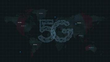 Internet de technologie 5g sur fond de points de carte du monde 4k video