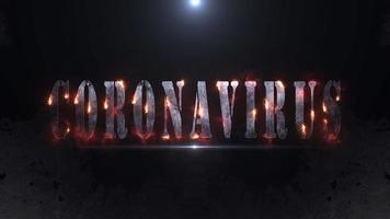 animação de texto de coronavírus e efeito de queima de fogo