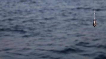 linha de pesca e pequeno peso à beira-mar
