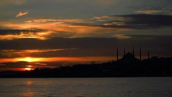Silhouette of The Blue Mosque at Sunset, Turkey