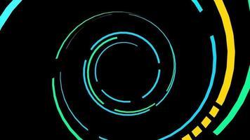 passando por um túnel de redemoinhos coloridos de luz video