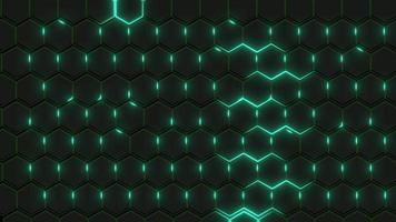 Wand aus schwarzen Sechsecken mit grünem Schimmer
