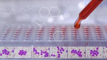 Doctor or Scientist testing in laboratory with Leukemia cells on medicine background.