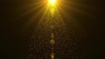Fondo de animación de caída de partículas y energía del sol dorado video