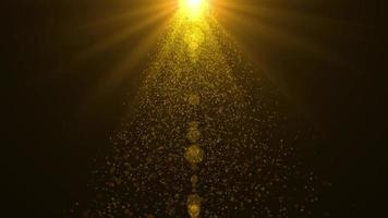 gyllene solenergi och partiklar som faller animationsbakgrund video