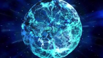 une boule d'énergie bleue poussant dans l'espace