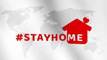 STAYHOME  HashTag Wording  on World map animation video