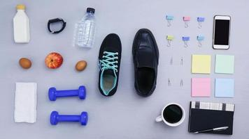 Stop motion  of objects for exercising and office working. video