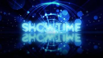 SHOWTIME Blue Neon Text with futuristic light