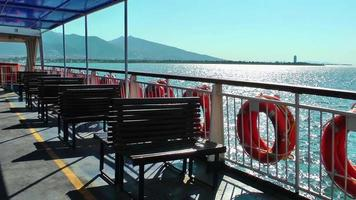 Ferryboat Travelling on Aegean Sea in City Izmir