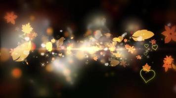 folhas e corações brilhando e voando em um fundo preto
