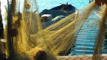Fisherman Repairs Fishnets and Fishing Lines video