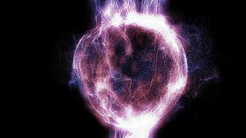 orbe de energia plasmática colorida no fundo animado do espaço