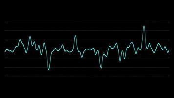 gráfico de monitor de exibição de sinal de onda azul