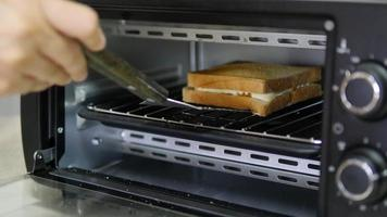 Person Takes Cooked Sandwich Out From Home Oven