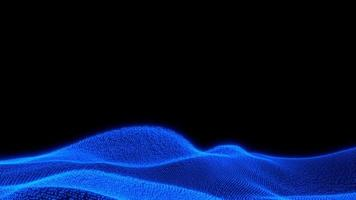Loop fly over glowing futuristic technology blue terrain over black background