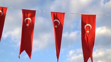 bandeiras turcas acenando em câmera lenta video