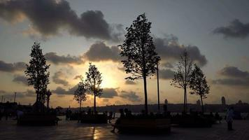 People and Trees at Uskudar During Sunset