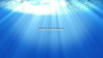 Underwater veil of sunlight with World oceans day Cinematic