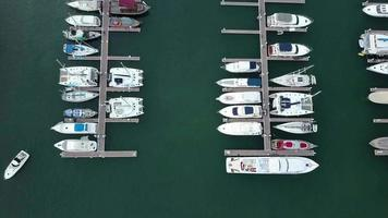 Aerial view of boats and yachts docked