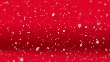 copos de nieve de papel cayendo aislados sobre fondo rojo
