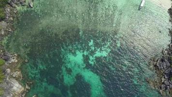 Aerial drone shot of idyllic island