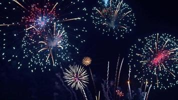 fogos de artifício à noite video