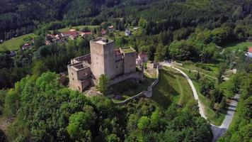 Drone flying back from an old castle in 4K