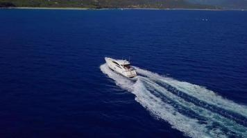 Aerial view of a speed boat in 4K