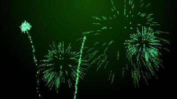 ráfagas de fuegos artificiales sobre fondo negro animación tinte verde