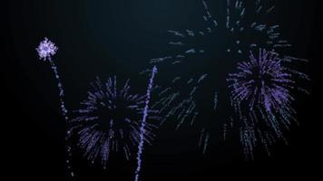 Explosões de fogos de artifício sobre fundo preto animação matiz azul
