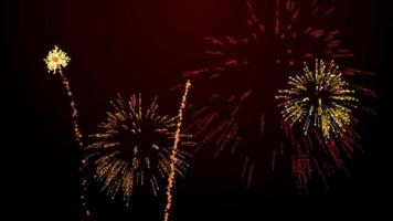 firework bursts over black background animation orange tint
