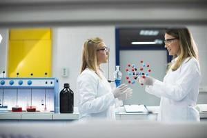 mujeres químicas tienen un modelo molecular en el laboratorio. foto