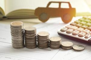 Pile of coins with a model car photo