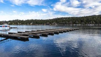 A floating boat dock on a lake