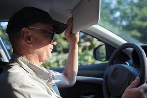 Mature man driving